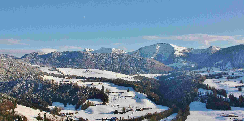 Blick auf Hochgrat im Winter