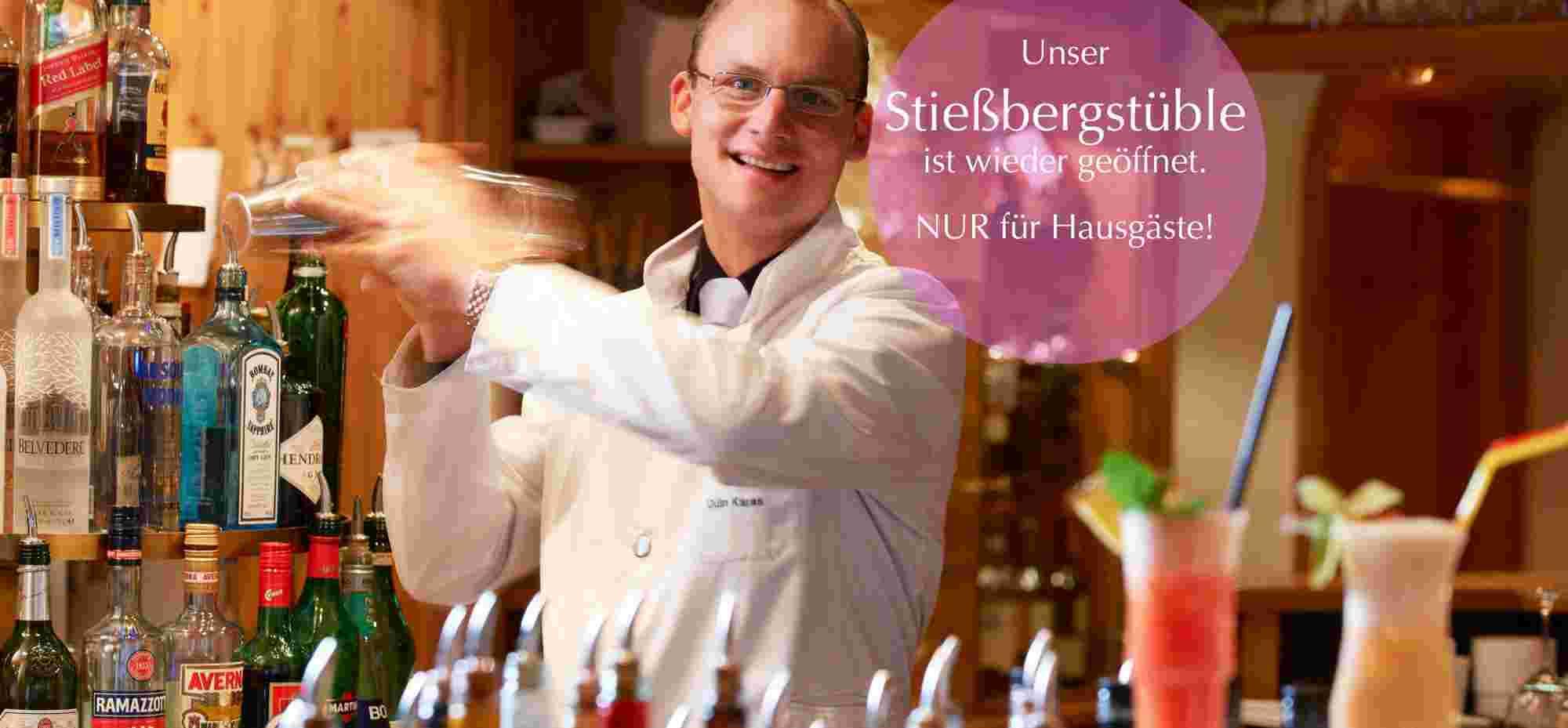 Barkeeper Odin Karas im 5 Sterne Hotel Allgäu Sonne in Oberstaufen