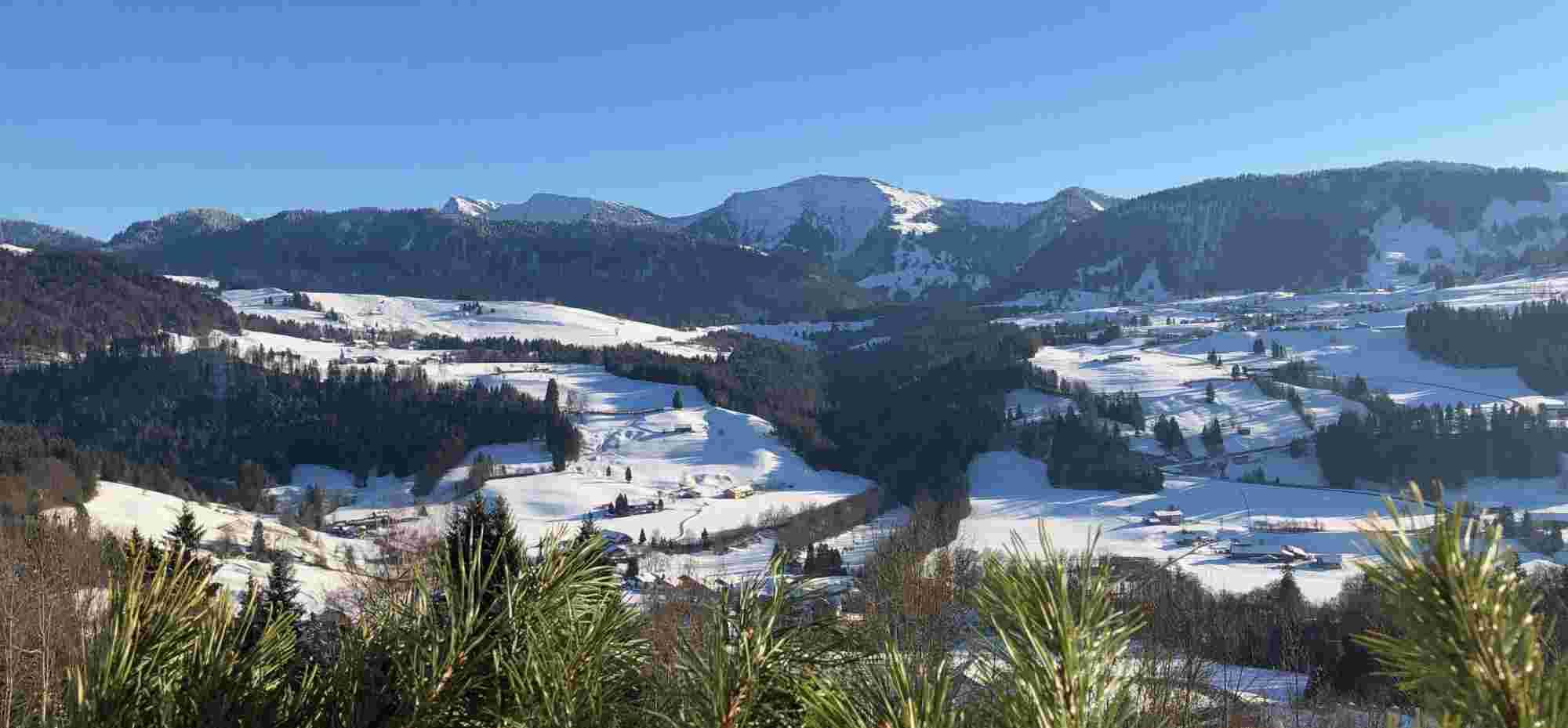 Blick vom Hotel Allgaeu Sonne in Oberstaufen auf Hochgrat im Winter