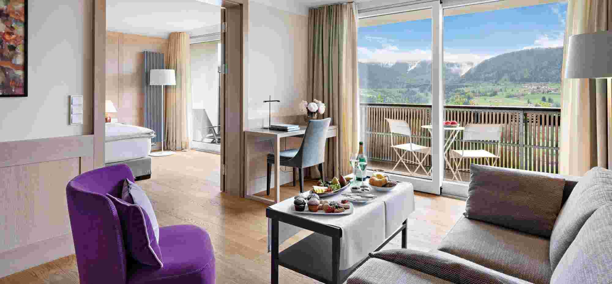 Juniorsuite mit toller Aussicht im 5 Sterne Hotel Allgäu Sonne in Oberstaufen