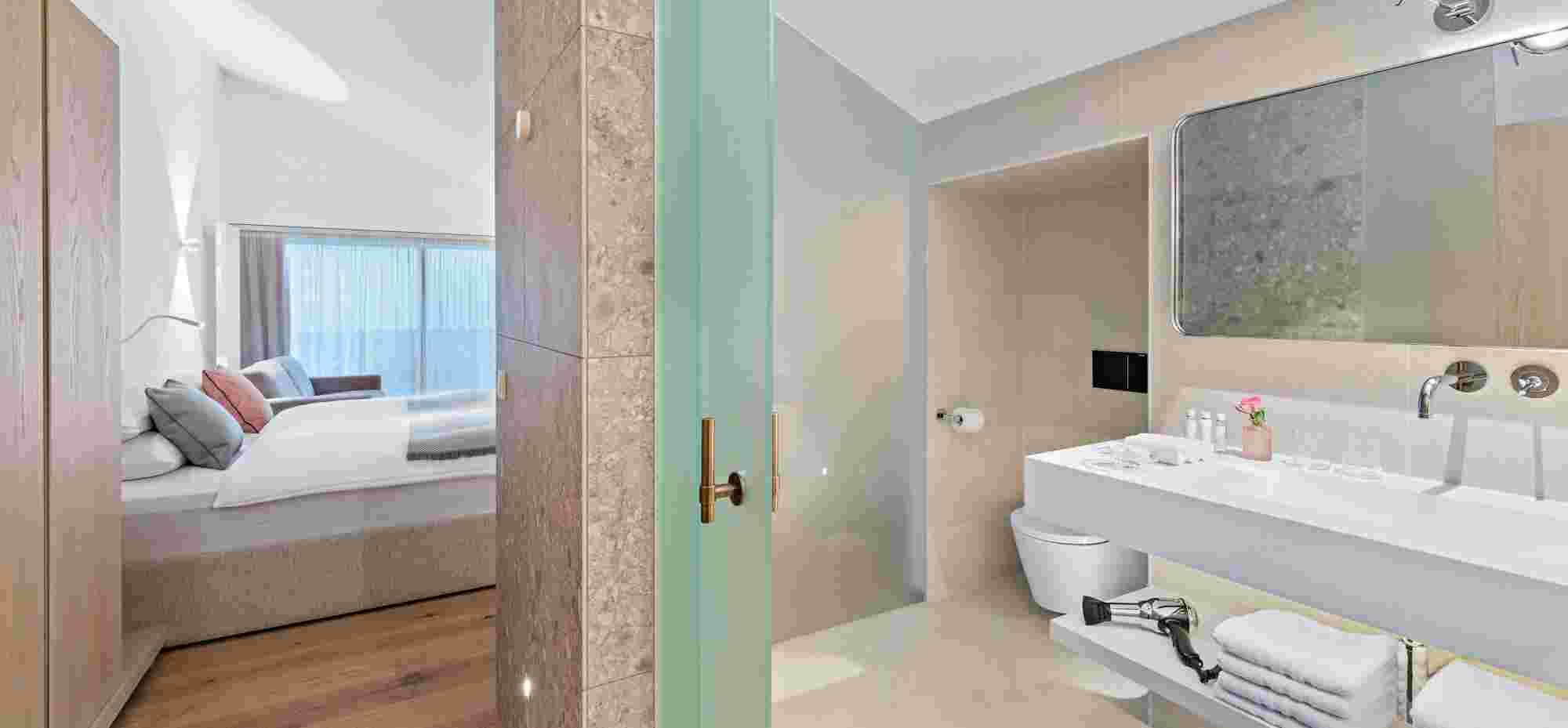 Superior Doppelzimmer vom Badezimmer im 5 Sterne Hotel Allgäu Sonne