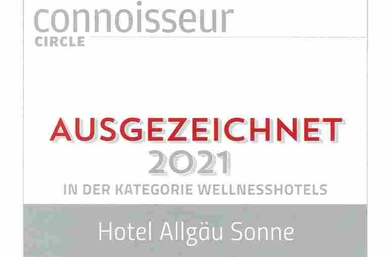 Auszeichnung des Hotels Allgäu Sonne in der Kategorie Wellnesshotels