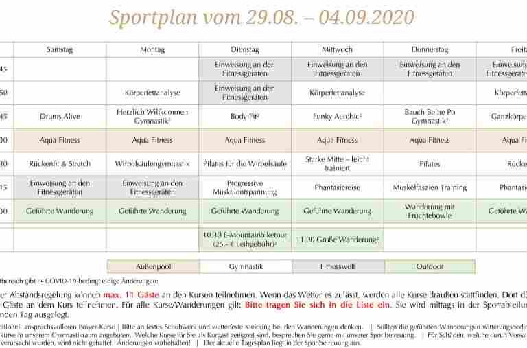 Sportplan der Allgäu Sonne