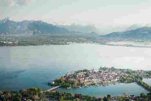 Luftaufnahme der Insel Lindau im Bodensee