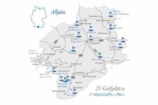 Map of the golf courses in the Allgäu