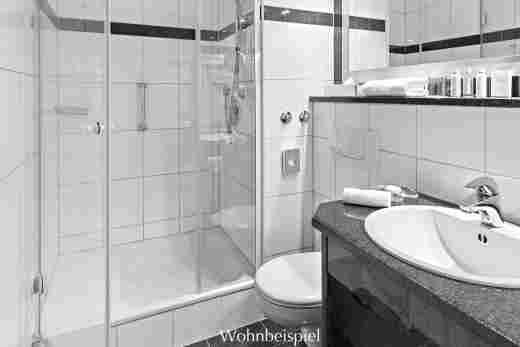 Badezimmer im Standard Einzelzimmer im Hotel Allgäu Sonne in Oberstaufen