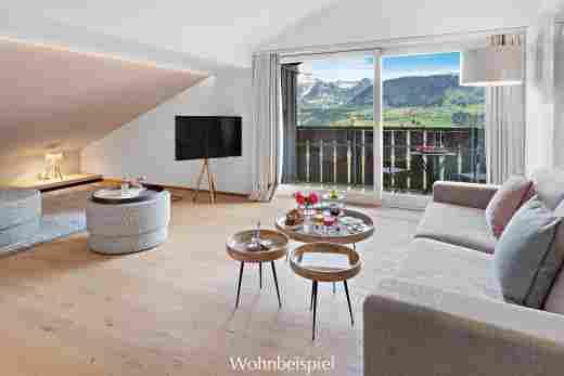 Juniorsuite mit Blick auf Hochgrat im Sport- & Wellnesshotel Allgäu Sonne in Oberstaufen