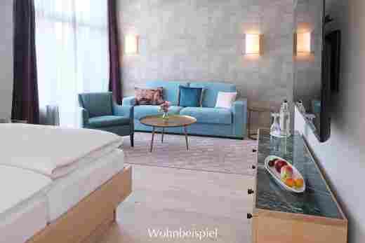 Sitzecke im Studio im Landhaus im 5 Sterne Hotel Allgäu Sonne